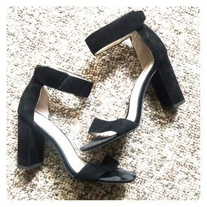 Jeffrey Campbell black suede block heels